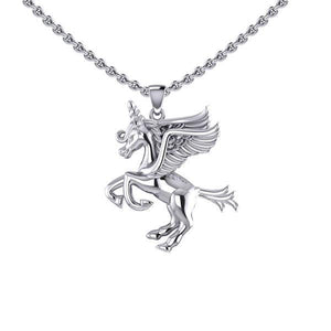 Enchanted Sterling Silver Mythical Unicorn Pendant TPD5400