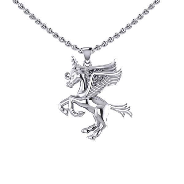 Enchanted Sterling Silver Mythical Unicorn Pendant TPD5400 peterstone.