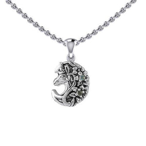 Mythical Moon Unicorn Silver Pendant with Gemstone TPD5406