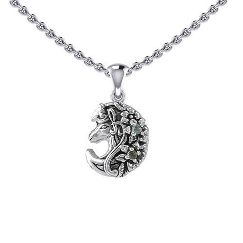 Mythical Moon Unicorn Silver Pendant with Gemstone TPD5406 peterstone.