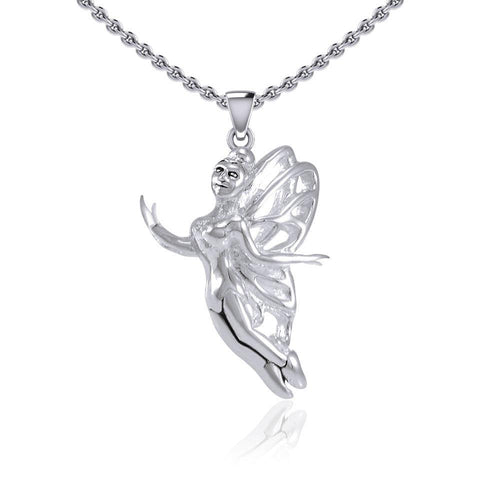 Enchanted Flying Fairy Silver Pendant TPD5410 peterstone.