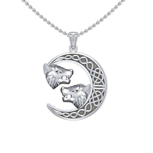 Double Wolf Heads with Celtic Crescent Moon Silver Pendant TPD5424 peterstone.