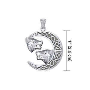 Double Wolf Heads with Celtic Crescent Moon Silver Pendant TPD5424