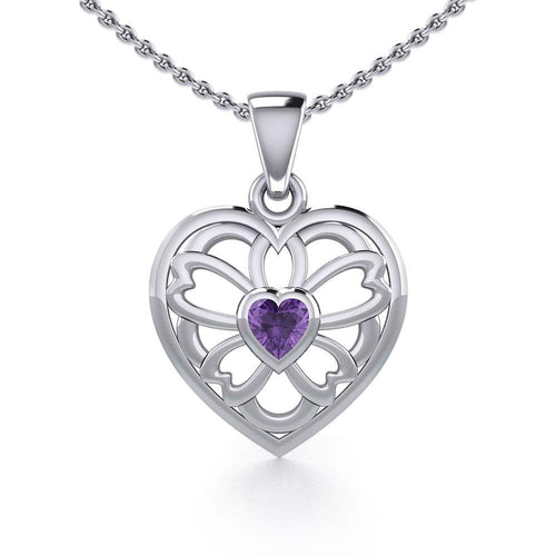 Flower in Heart Silver Pendant with Gemstone TPD5425 peterstone.