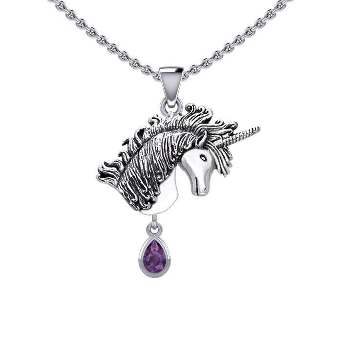 Unicorn Silver Pendant with Dangling Gemstone TPD5426