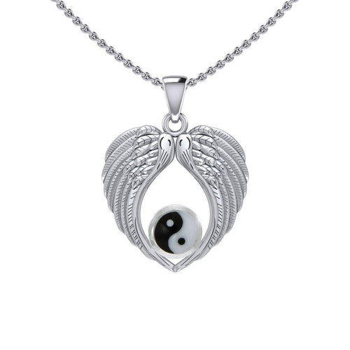 Feel the Tranquil in Angels Wings Silver Pendant with Yin Yang TPD5454 Pendant