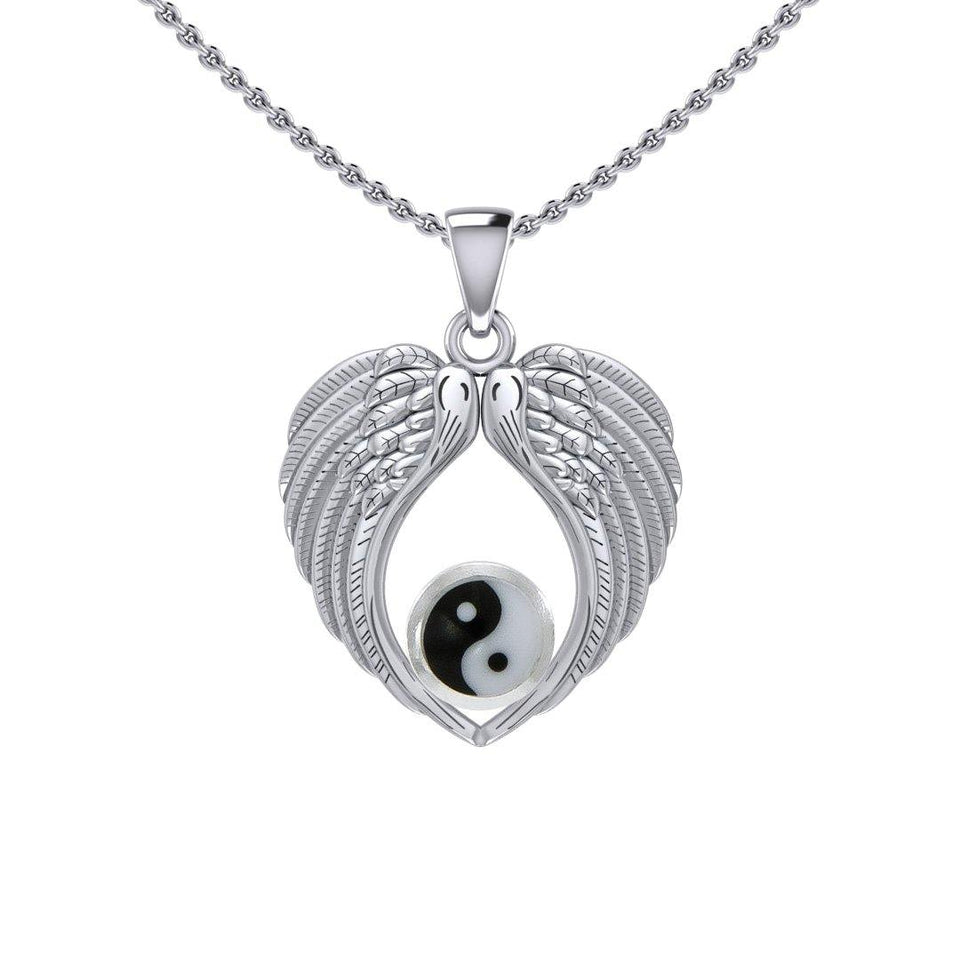 Feel the Tranquil in Angels Wings Silver Pendant with Yin Yang TPD5454 peterstone.