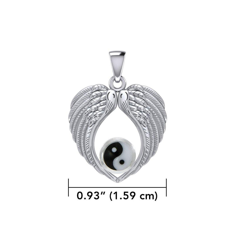 Feel the Tranquil in Angels Wings Silver Pendant with Yin Yang TPD5454