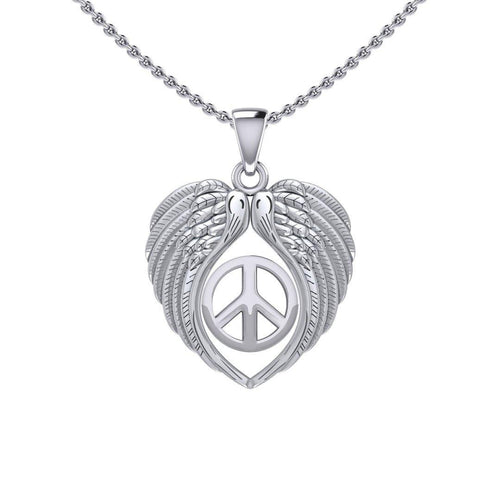 Feel the Tranquil in Angels Wings Silver Pendant with Peace TPD5455 peterstone.
