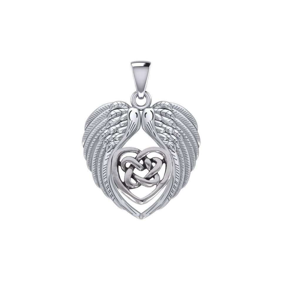 Feel the Tranquil in Angels Wings Silver Pendant with Celtic Heart TPD5458