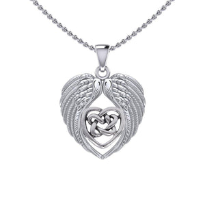 Feel the Tranquil in Angels Wings Silver Pendant with Celtic Heart TPD5458 peterstone.