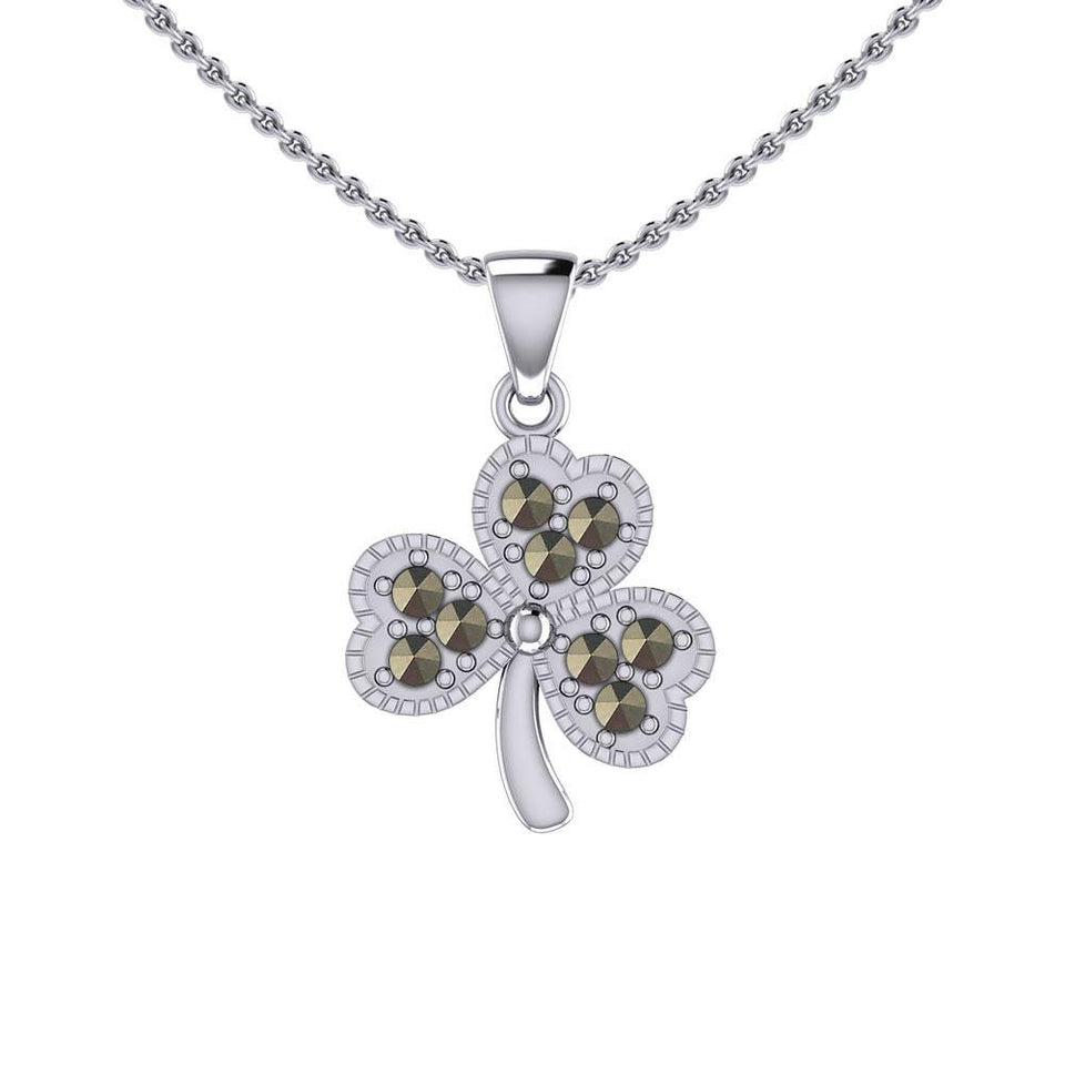 A young spring of luck and happiness Silver Celtic Shamrock Pendant with Marcasite TPD5459 peterstone.