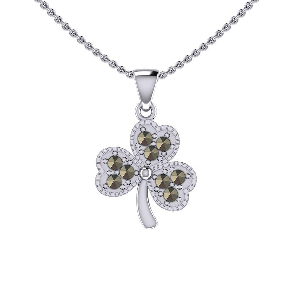 A young spring of luck and happiness Silver Celtic Shamrock Pendant with Marcasite TPD5459