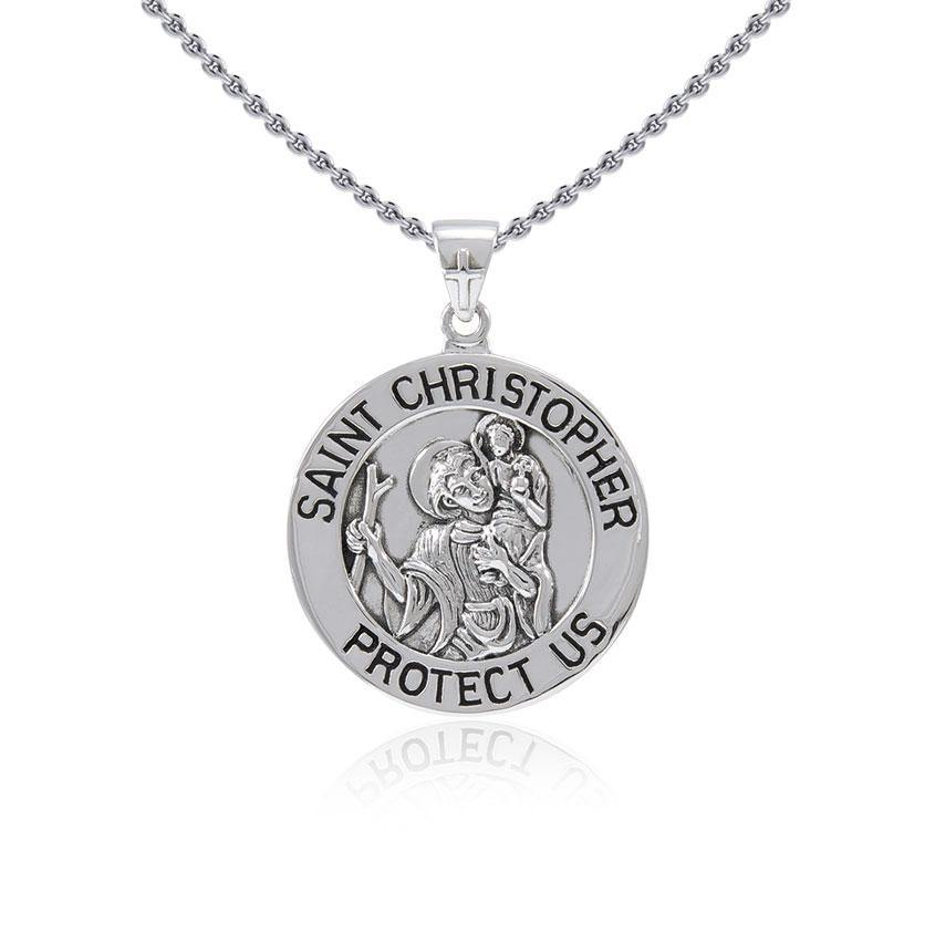Saint Christoper Silver Pendant (Medium 22 mm.) TPD5465