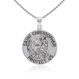Saint Christoper Silver Pendant (Large 25 mm.) TPD5466 Pendants