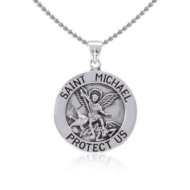 Saint Michael Silver Pendant (Large 25 mm.) TPD5469 peterstone.