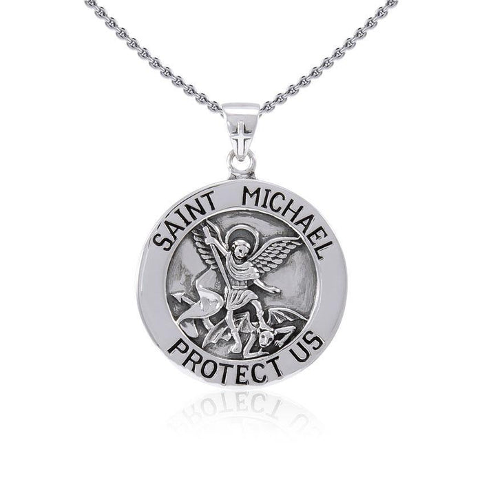 Saint Michael Silver Pendant (Large 25 mm.) TPD5469