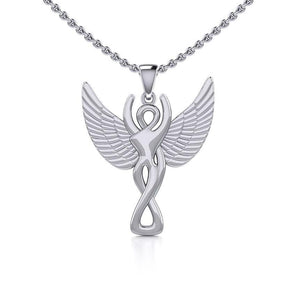 Silver Winged Goddess Pendant TPD5470 peterstone.