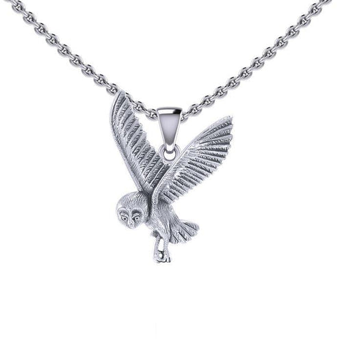 Flying Owl Silver Pendant TPD5476 peterstone.