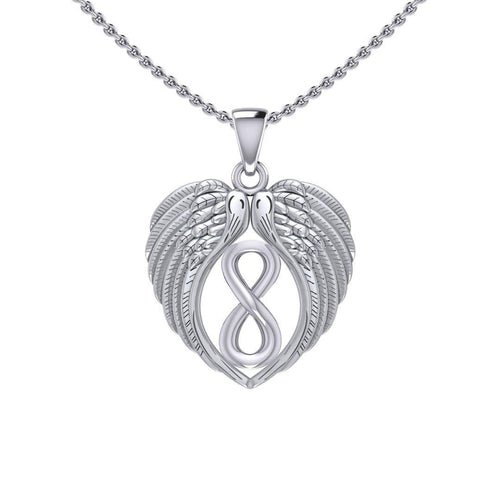 Feel the Tranquil in Angels Wings Silver Pendant with Infinity TPD5479