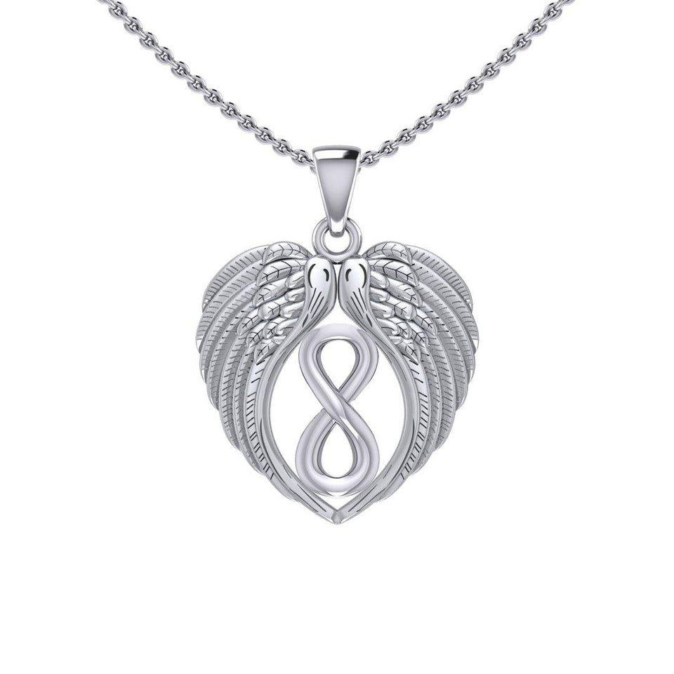 Feel the Tranquil in Angels Wings Silver Pendant with Infinity TPD5479 peterstone.