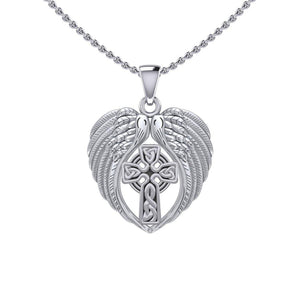 Feel the Tranquil in Angels Wings Silver Pendant with Celtic Cross TPD5480 peterstone.