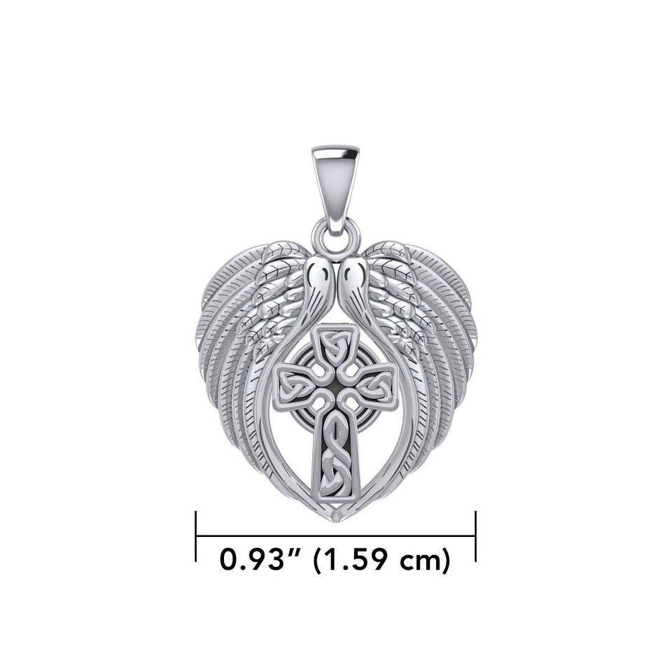 Feel the Tranquil in Angels Wings Silver Pendant with Celtic Cross TPD5480