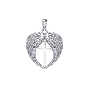 Feel the Tranquil in Angels Wings Silver Pendant with Cross TPD5481
