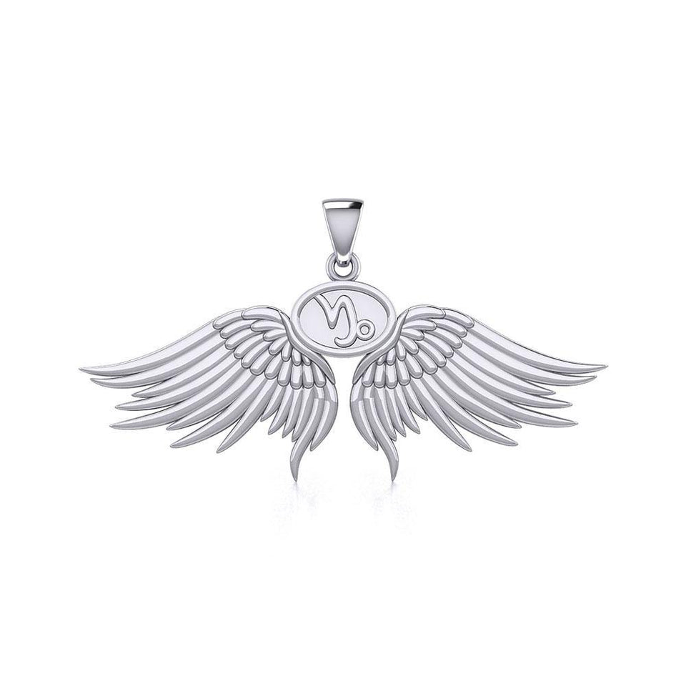 Guardian Angel Wings Silver Pendant with Capricorn Zodiac Sign TPD5512