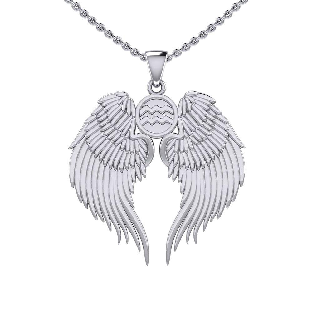 Guardian Angel Wings Silver Pendant with Aquarius Zodiac Sign TPD5513 peterstone.