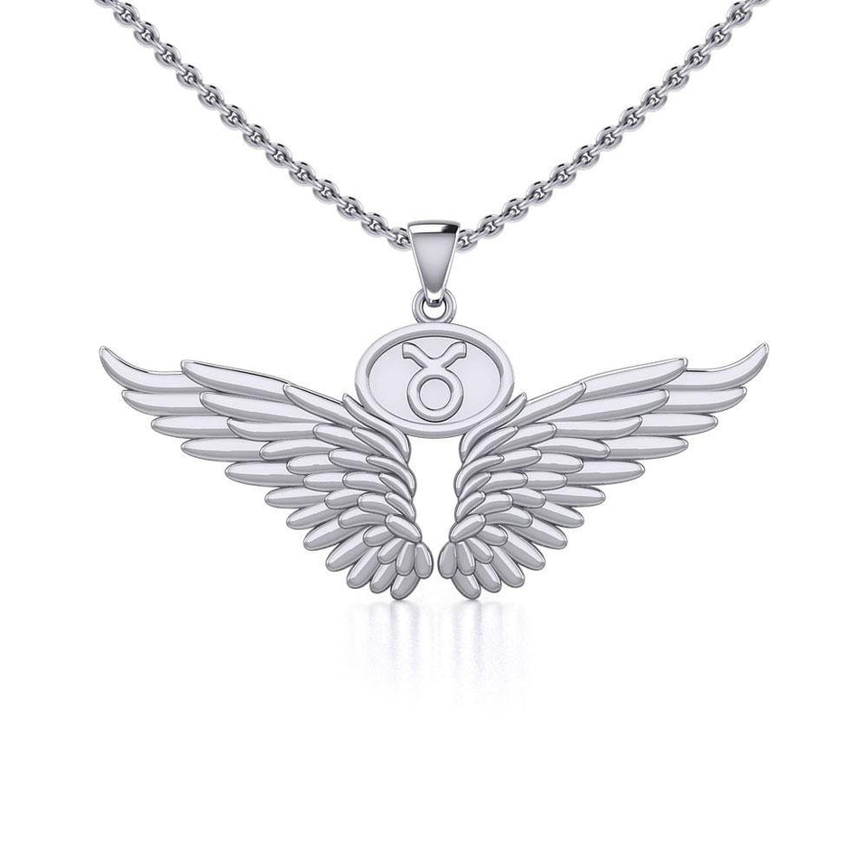 Guardian Angel Wings Silver Pendant with Taurus Zodiac Sign TPD5516