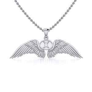 Guardian Angel Wings Silver Pendant with Gemini Zodiac Sign TPD5517 peterstone.