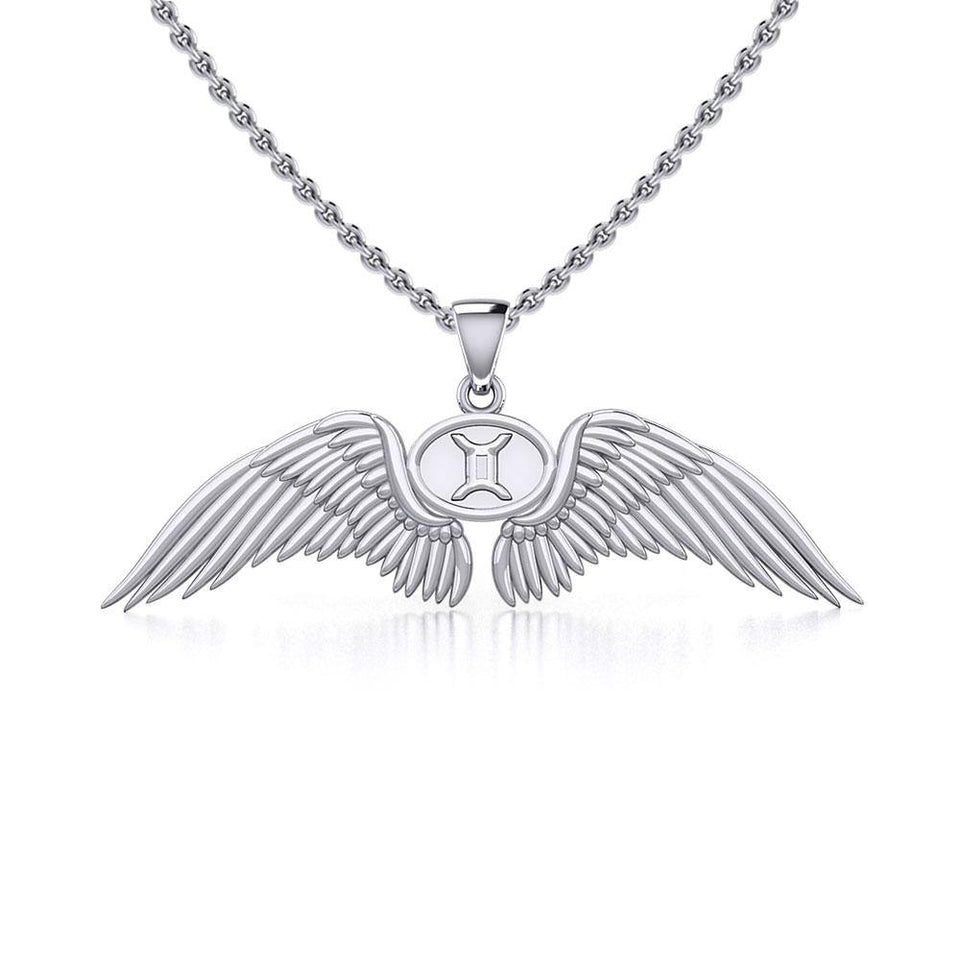 Guardian Angel Wings Silver Pendant with Gemini Zodiac Sign TPD5517