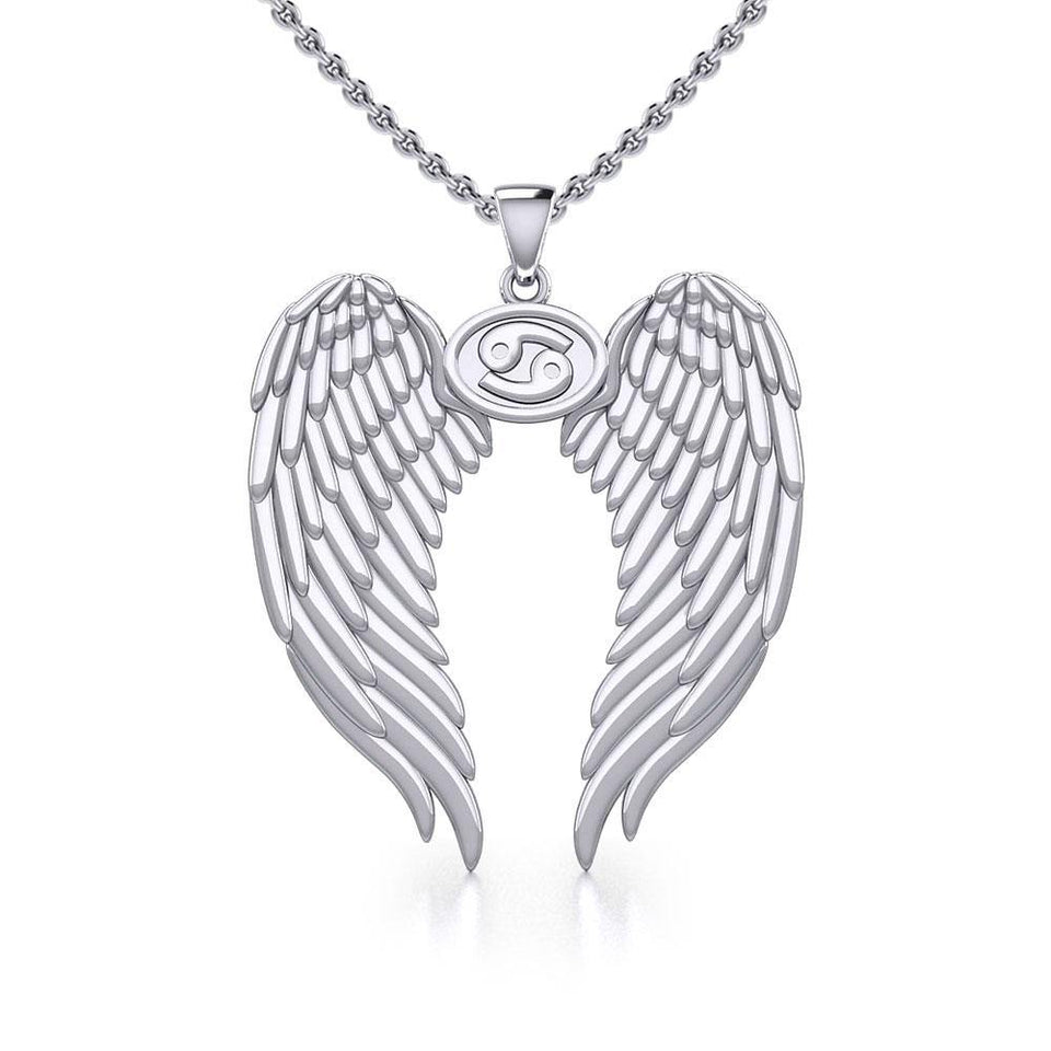 Guardian Angel Wings Silver Pendant with Cancer Zodiac Sign TPD5518