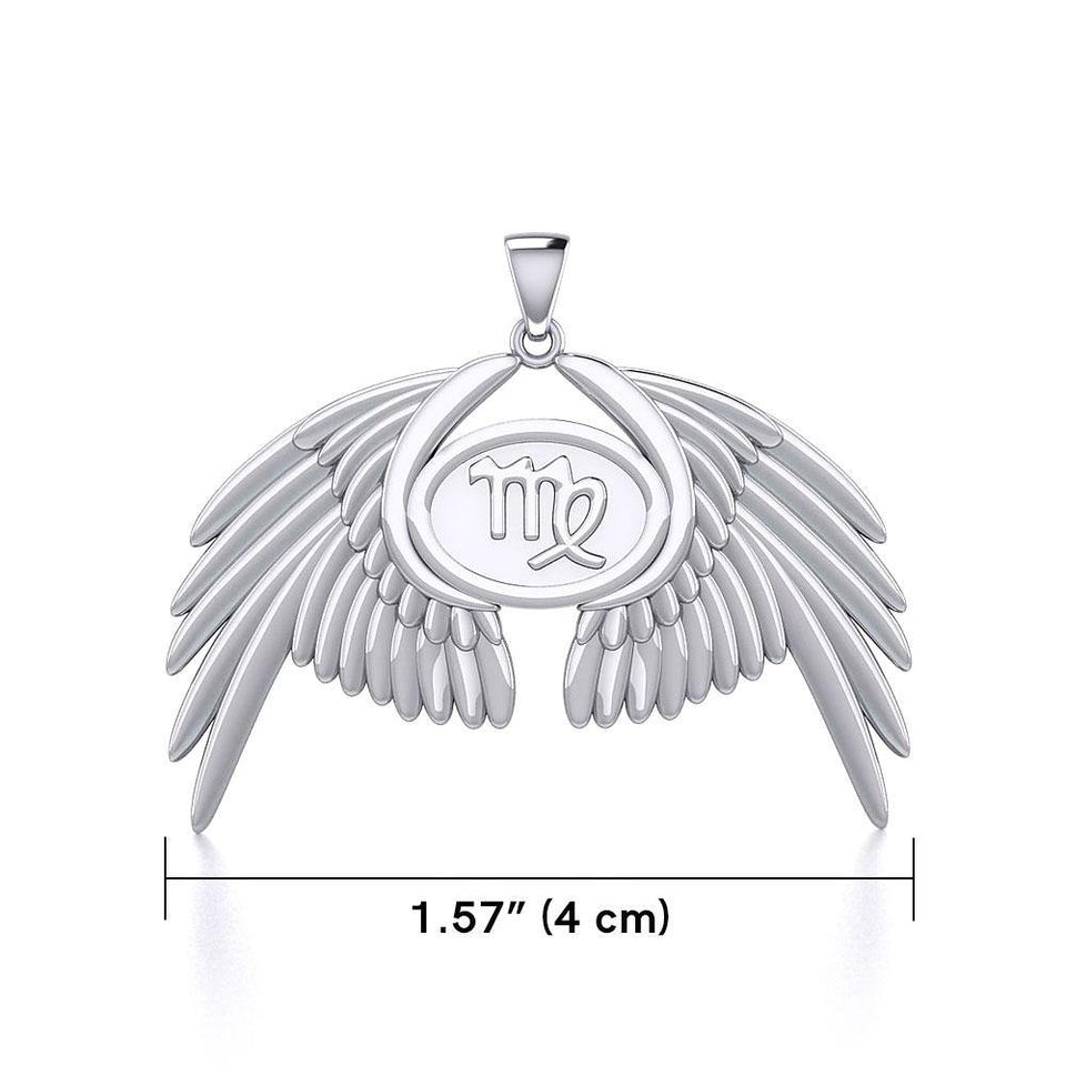 Guardian Angel Wings Silver Pendant with Virgo Zodiac Sign TPD5520