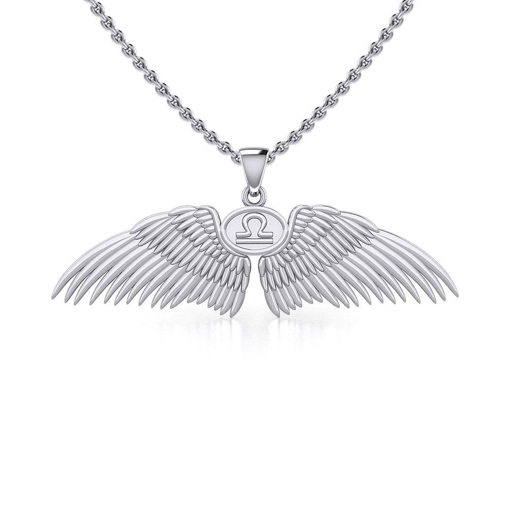 Guardian Angel Wings Silver Pendant with Libra Zodiac Sign TPD5521 peterstone.