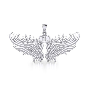 Guardian Angel Wings Silver Pendant with Scorpio Zodiac Sign TPD5522 peterstone.