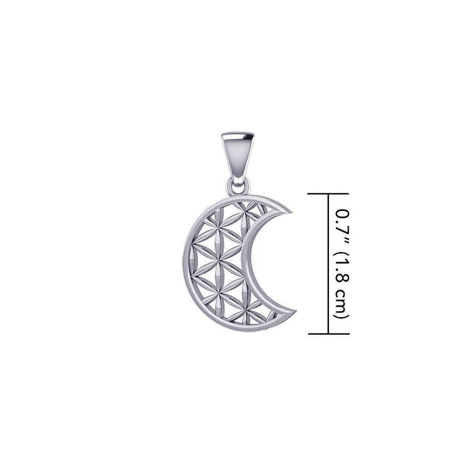 The Flower of Life in Crescent Moon Sterling Silver Pendant TPD5524