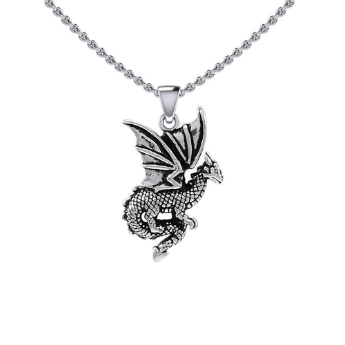 Flying Dragon Silver Pendant TPD5605 peterstone.