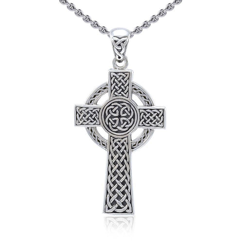 Sterling Silver Celtic Cross Pendant TPD5608 peterstone.