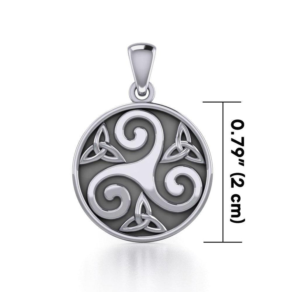 Triskelion Spiral with Trinity Knot Silver Pendant TPD5609 peterstone.