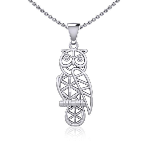 Silver Flower of Life Owl Pendant TPD5612 peterstone.
