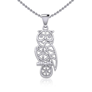 Silver Flower of Life Owl Pendant TPD5612
