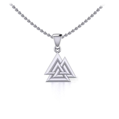 Sterling Silver Viking Valknut Small Pendant Jewelry TPD5614 peterstone.