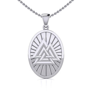 Sterling Silver Viking Valknut Oval Pendant Jewelry TPD5615 peterstone.