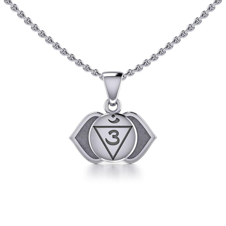 Ajna Third Eye Chakra Sterling Silver Pendant TPD5627 peterstone.