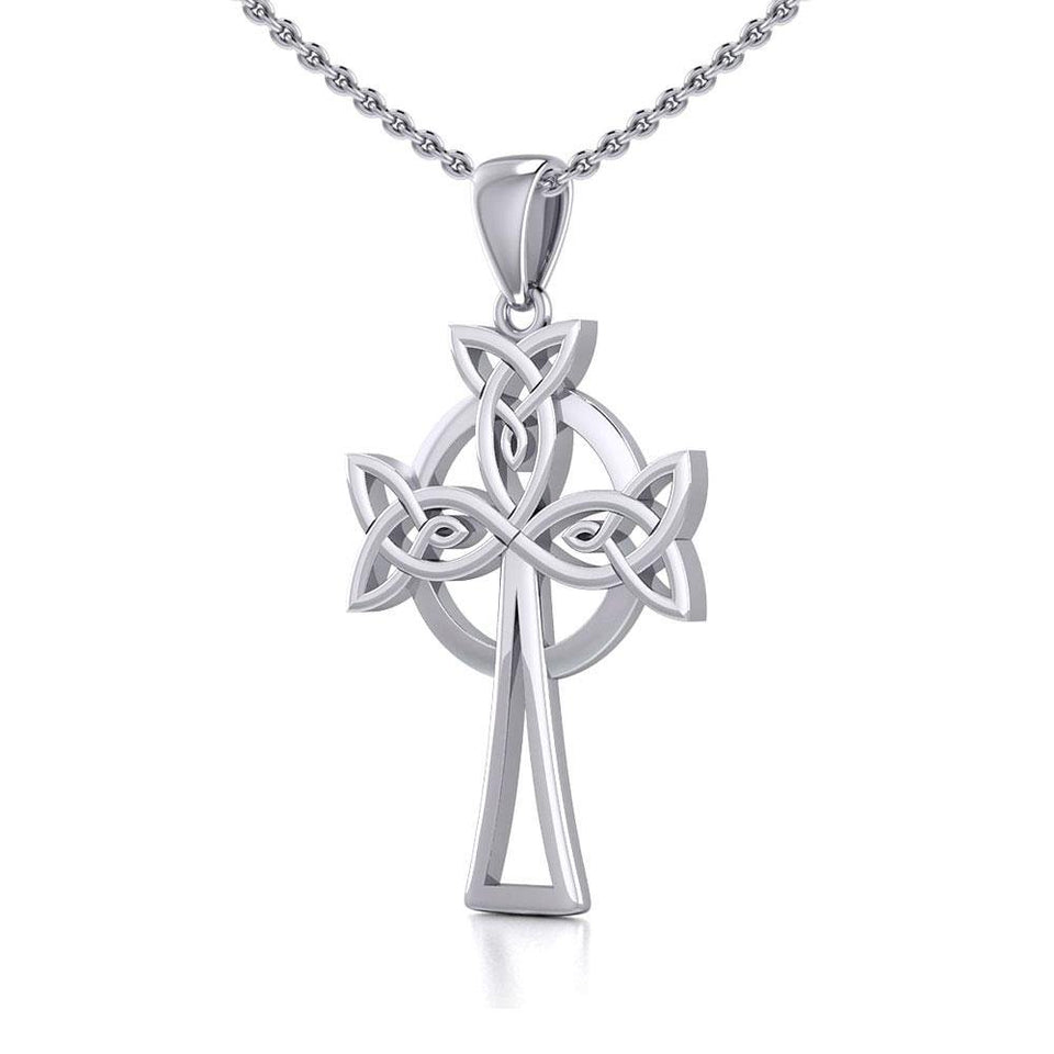 Sterling Silver Celtic Cross Pendant TPD5638 peterstone.