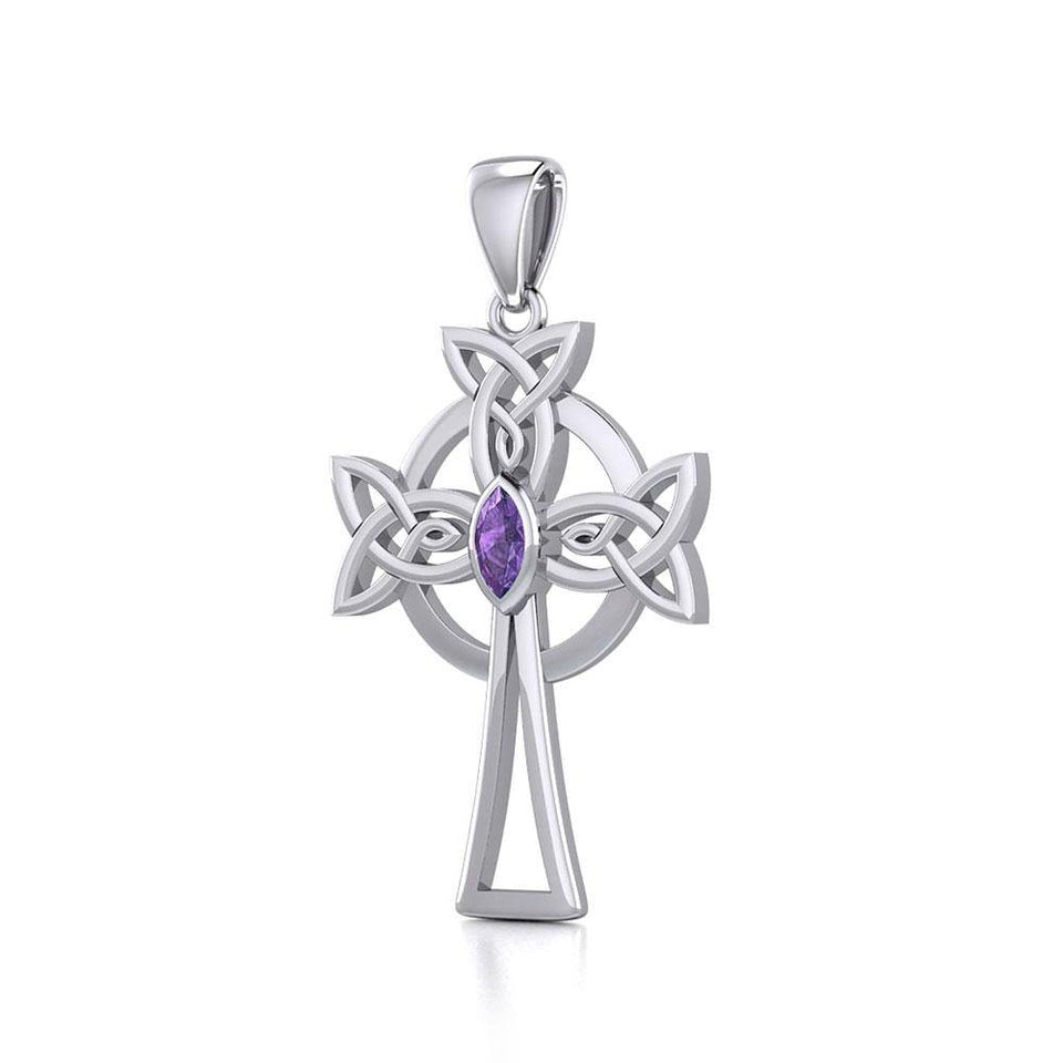 Sterling Silver Celtic Cross Pendant with Marquise Gemstone TPD5639 peterstone.