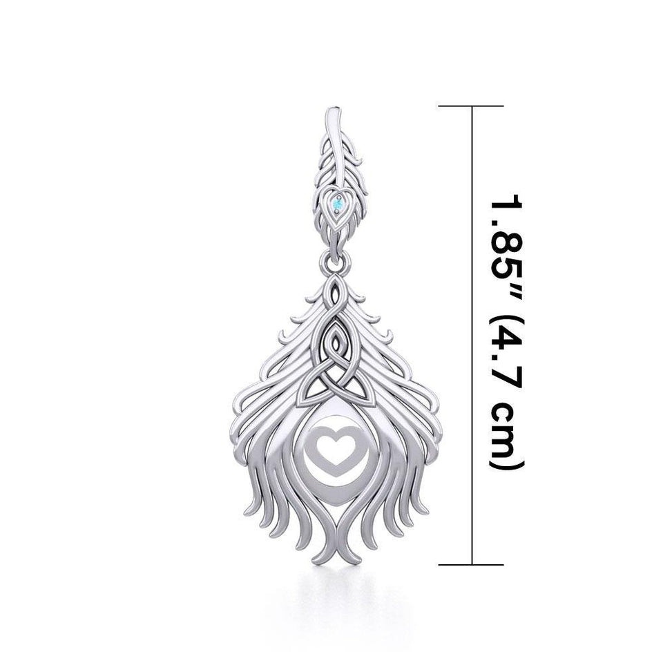Celtic Peacock Tail Silver Pendant with Gemstone TPD5640 peterstone.
