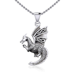 Flying Dragon with Celtic Wing Silver Pendant TPD5641 peterstone.